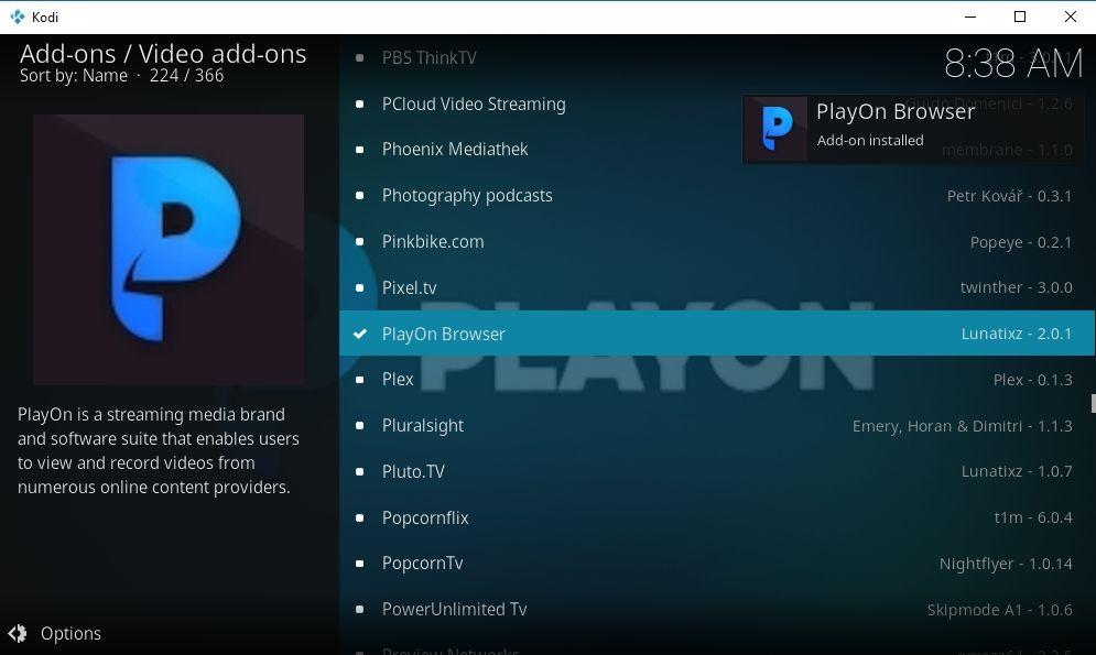 PlayOn Browser Kodi Add-on 06 - PlayOn installation
