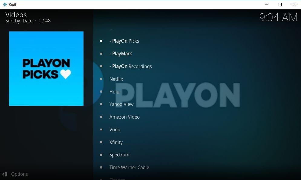 PlayOn Browser Kodi Add-on 10 - PlayOn main page