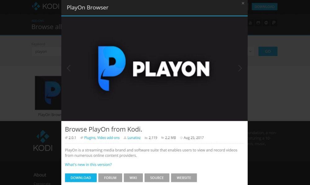 PlayOn Browser Kodi Add-on 13 - PlayOn Koi info page