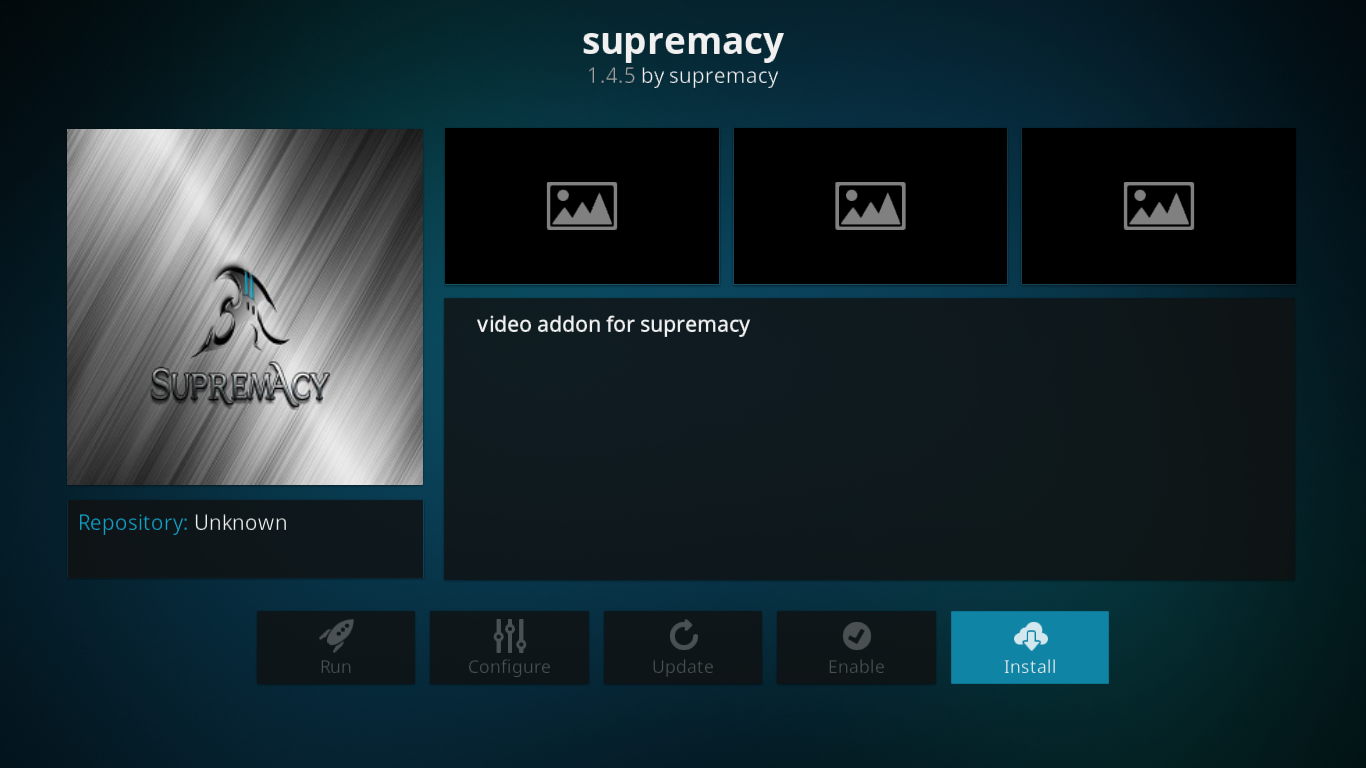 Supremacy Add-on Installation Page