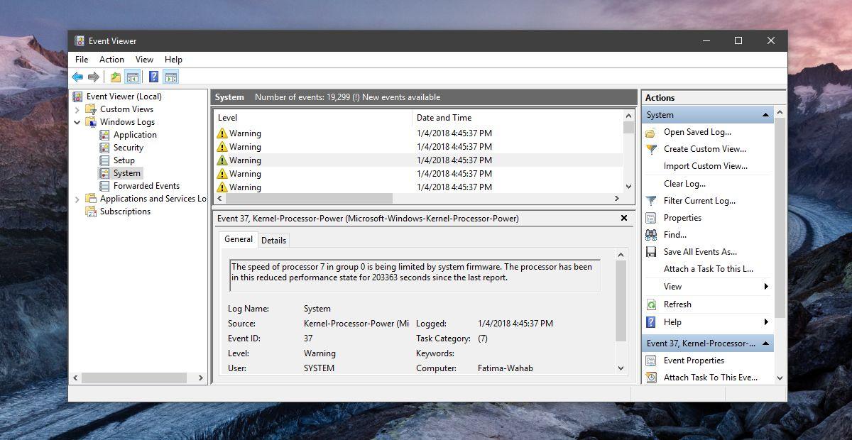 event viewer procesor error
