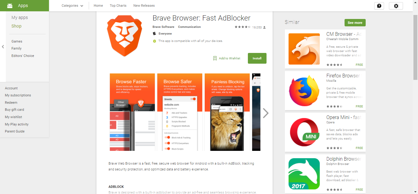 Brave on Play Store