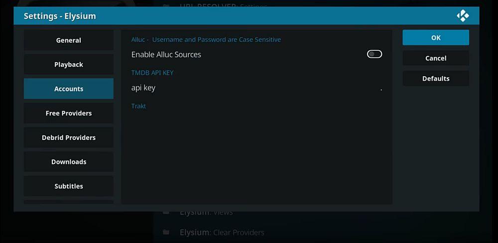 Elysium settings API key