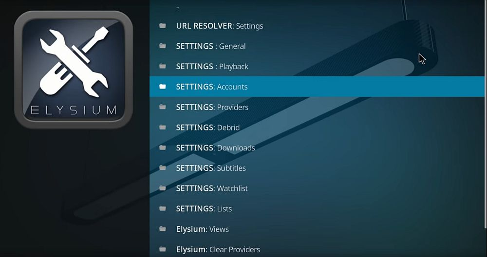 Elysium – settings – accounts
