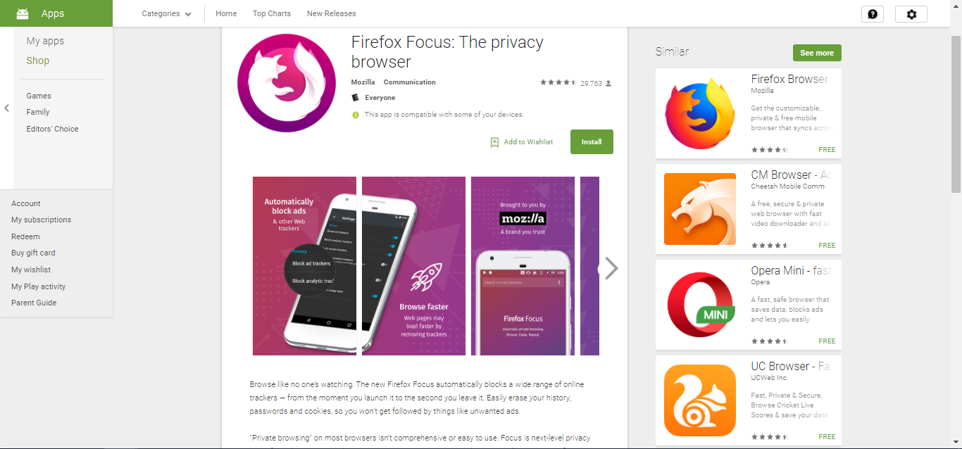 Firefox Focus on Play Store