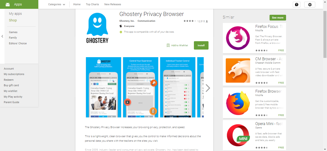 Ghostery on Play Store