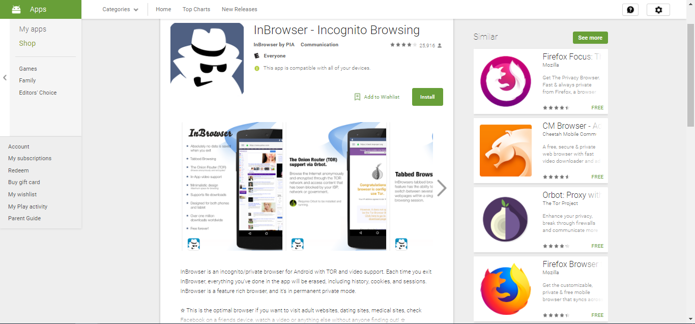 InBrowser on Play Store