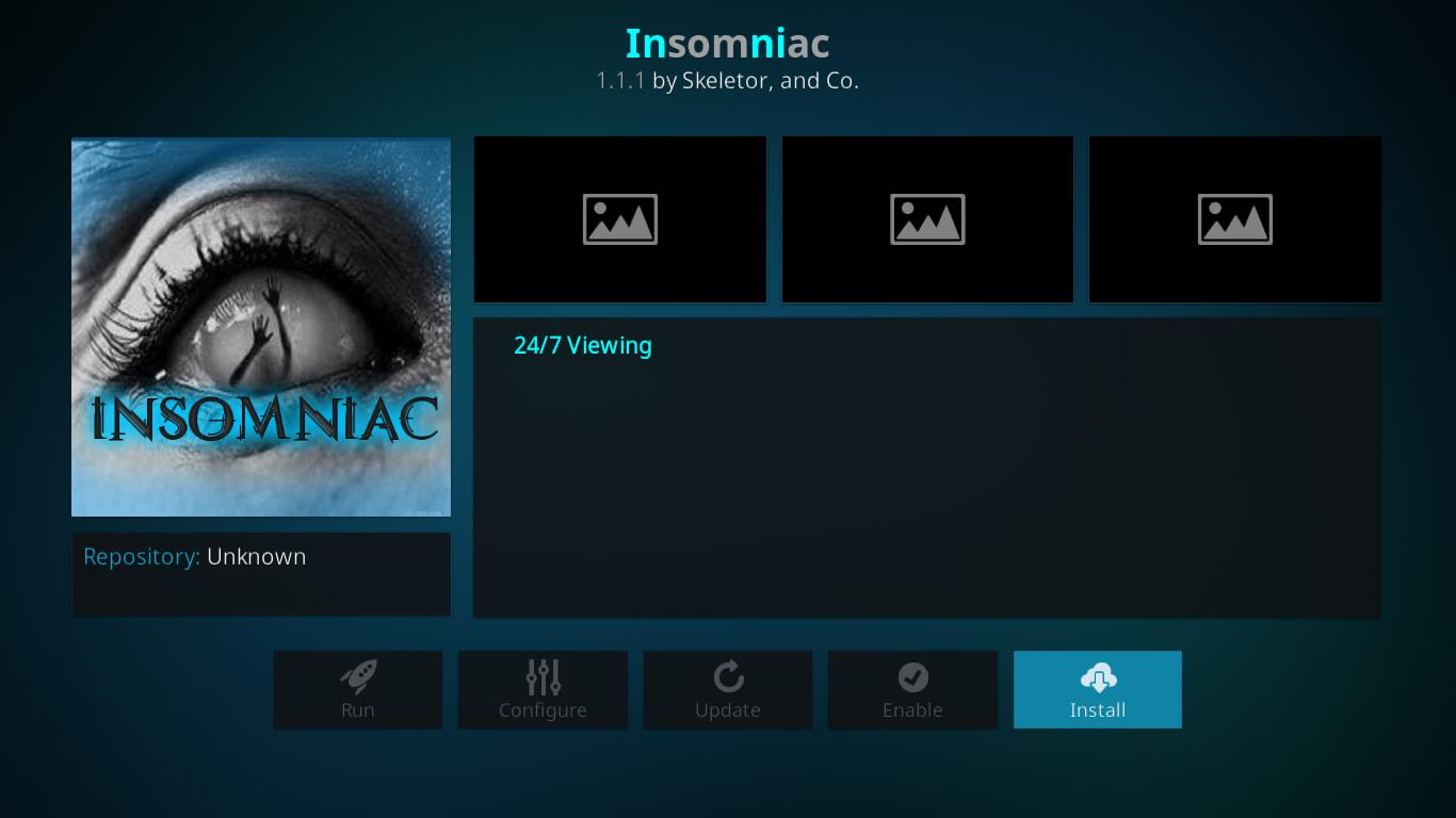 Insomniac Installation Screen