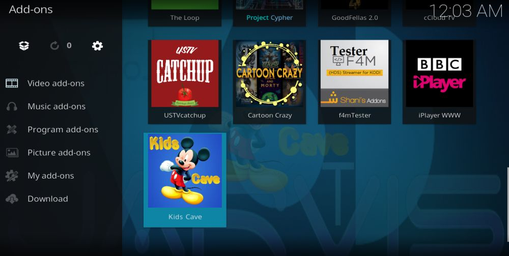 Kids Cave Installation 10 – Find in Video Addons
