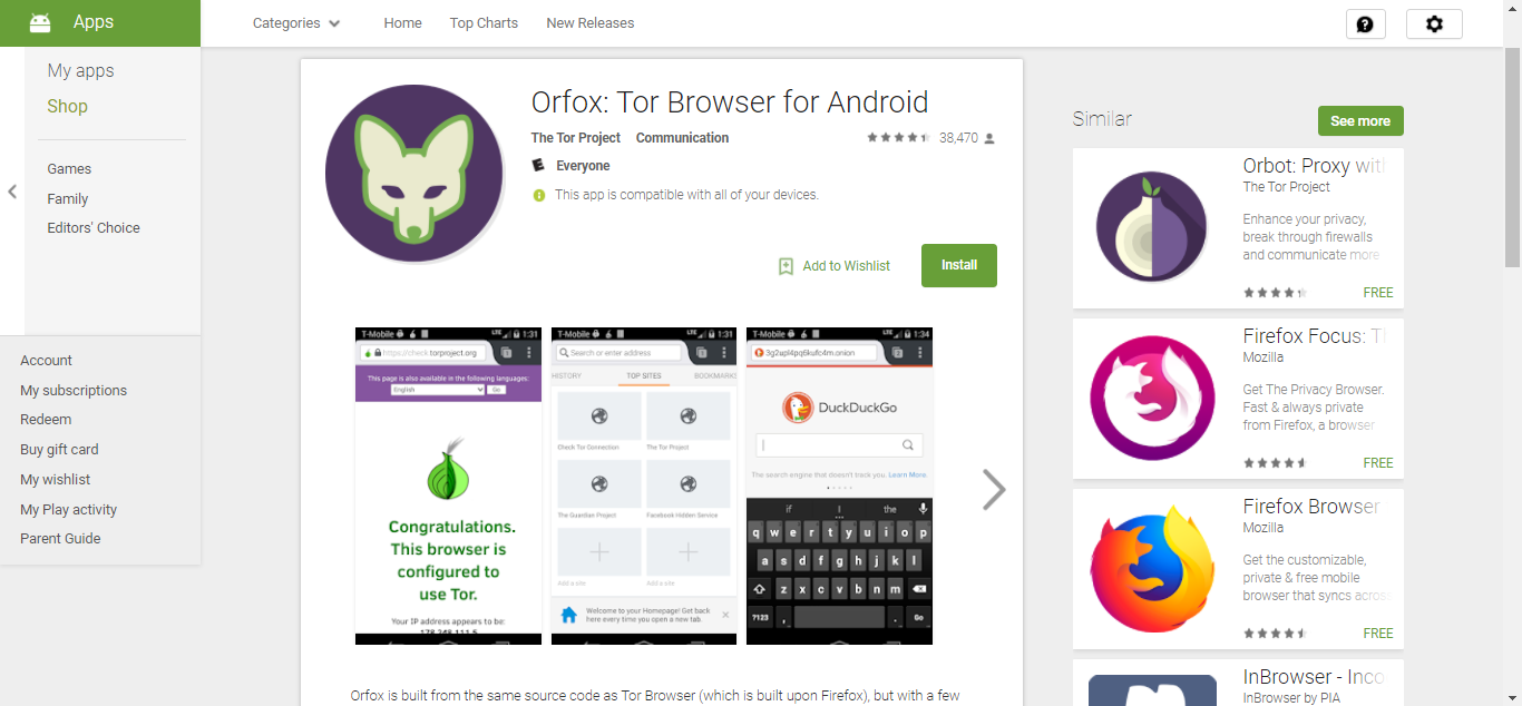 Orfox on Play Store