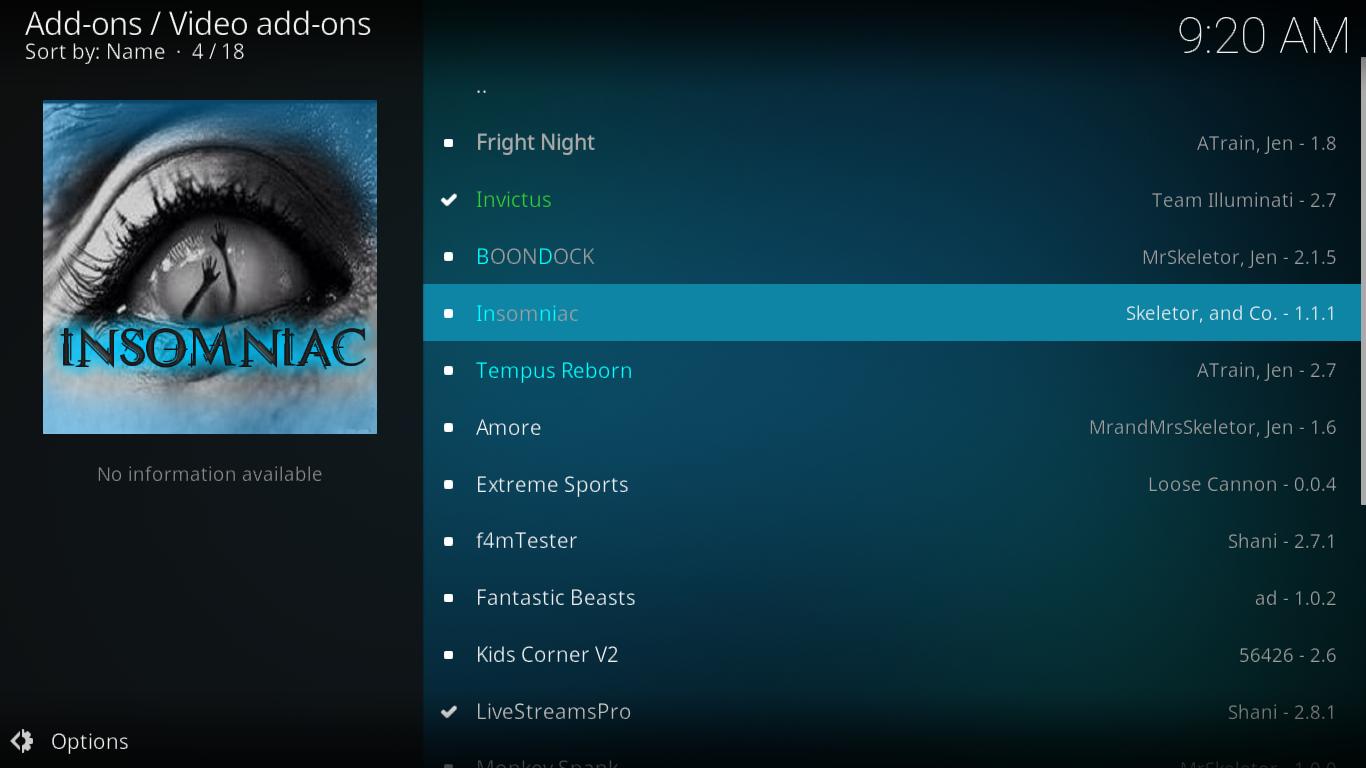 Select Insomniac add-on