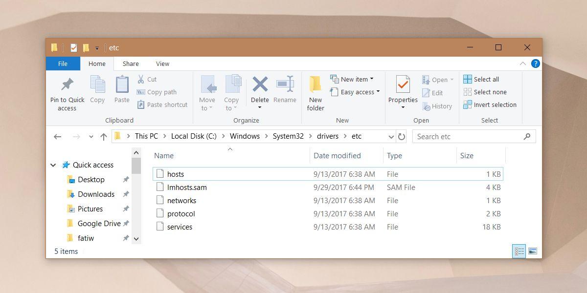 host file windows 10