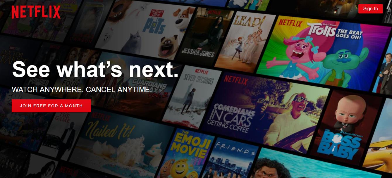American Netflix HomePage
