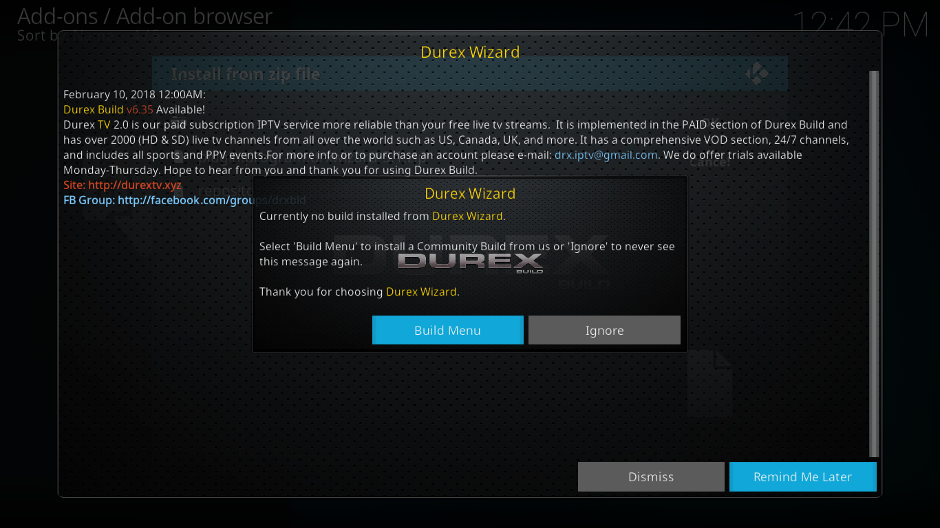 Durex Build Menu Prompt