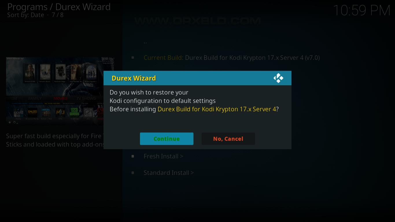 Durex Restore Defaults Prompt