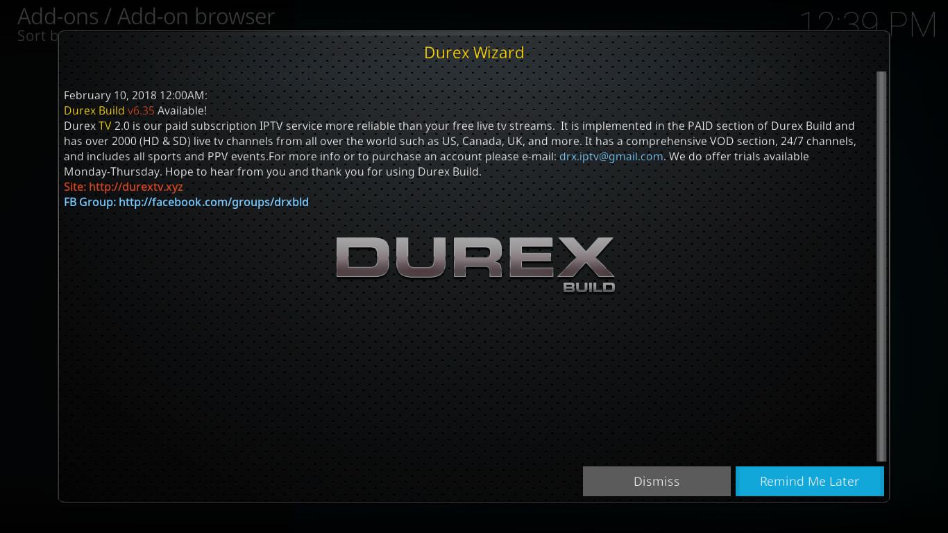 Durex Wizard Initial Screen
