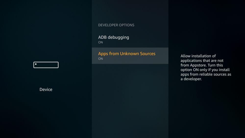 Kodi on Fire TV USB 3 - Unknown sources