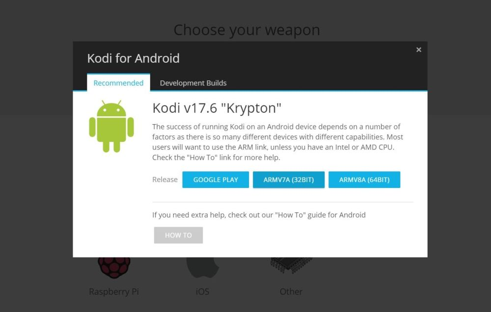 Kodi on Fire TV USB 5 - Kodi download page