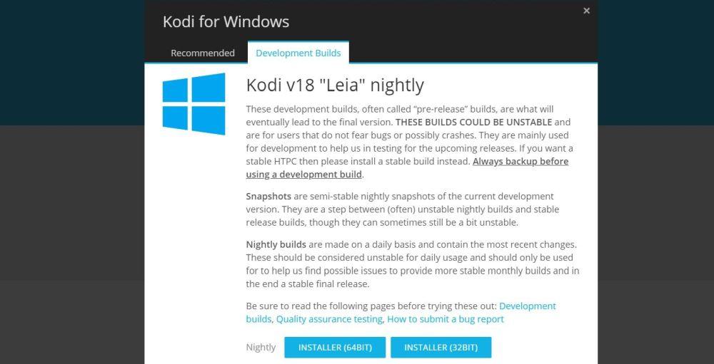 Kodi v18 Leia Alpha is Released 6 Kodi Leia download page