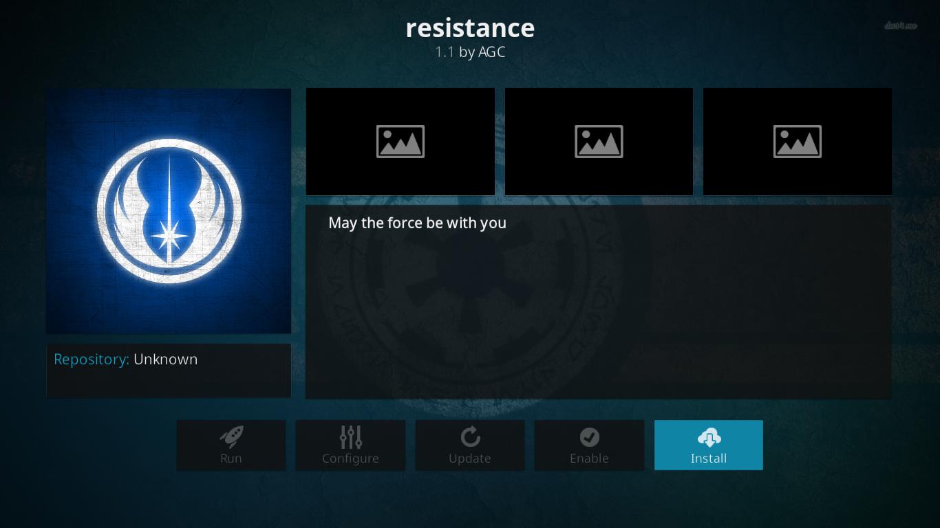Resistance Add-on Installation Screen