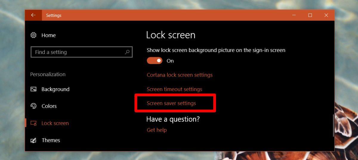 screen saver settings win 10