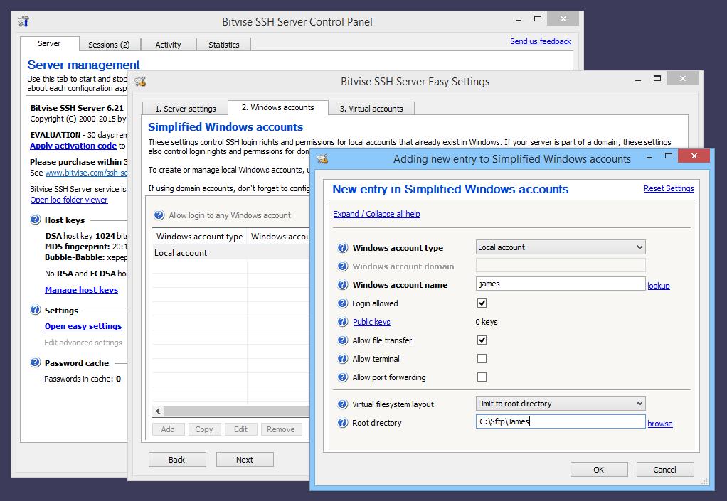 Bitvise Server Settings