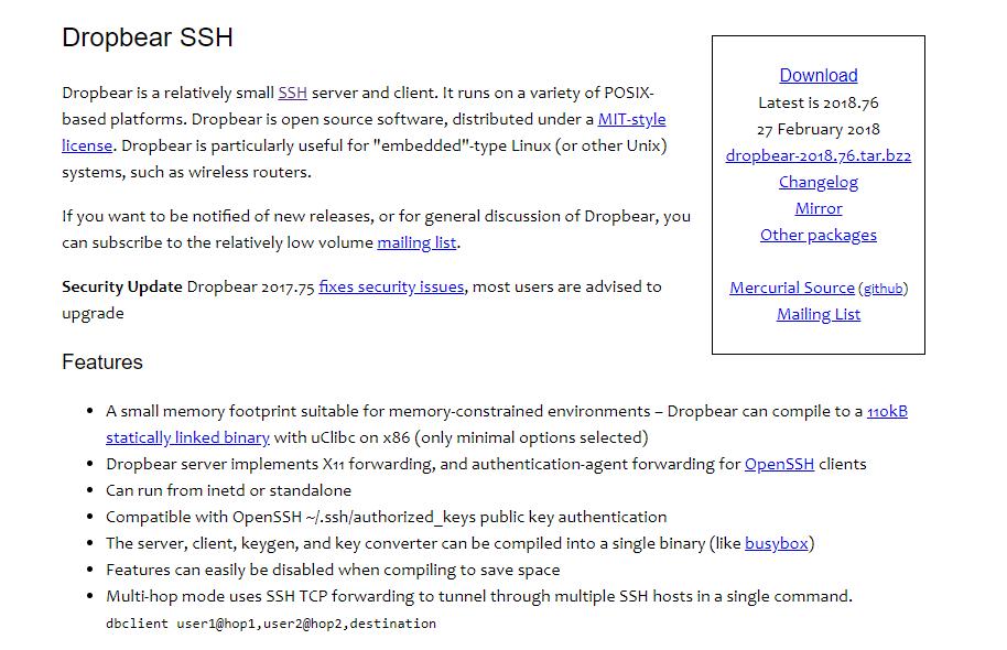 Dropbear SSH Website