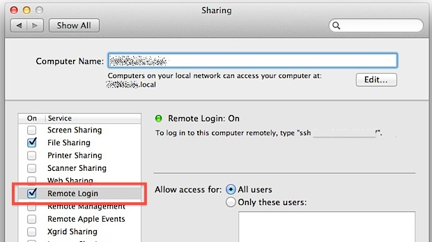 Enable Remote Login on macOS X