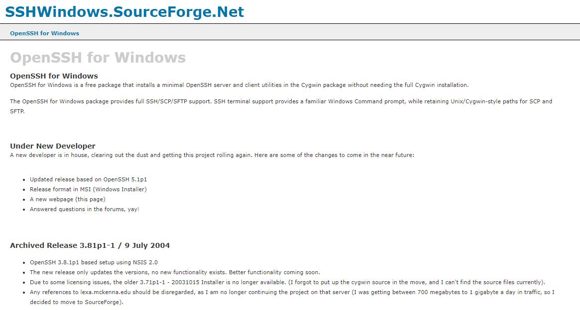 SSHWindows Website
