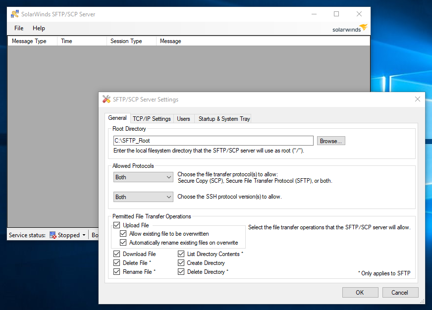 SolarWinds Free SCP-SFTP Server