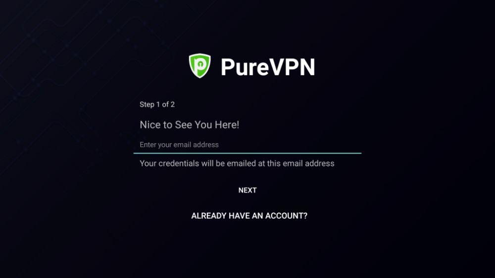 Install PureVPN on Fire Stick – Login Screen