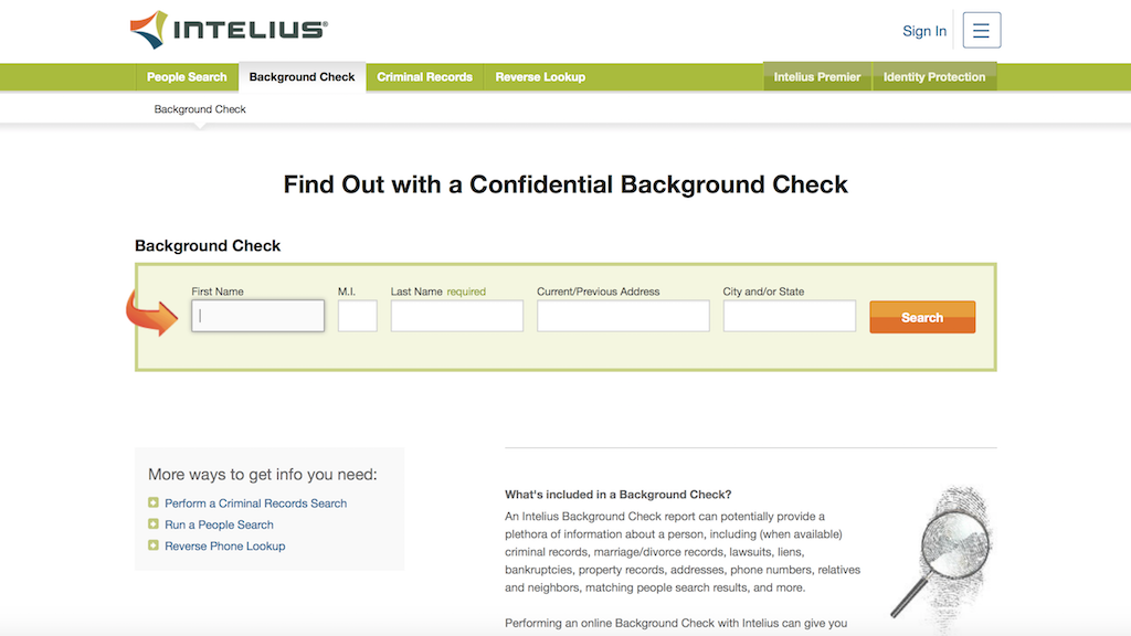 Intelius How to do a background check