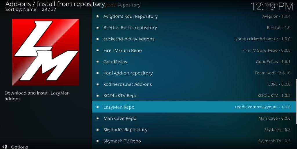 LazyMan Kodi addon repository