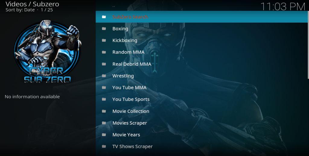 Subzero Main menu