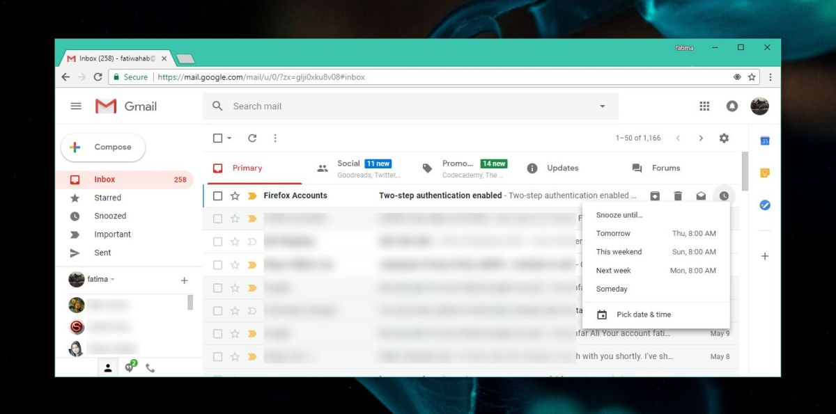 gmail web snooze