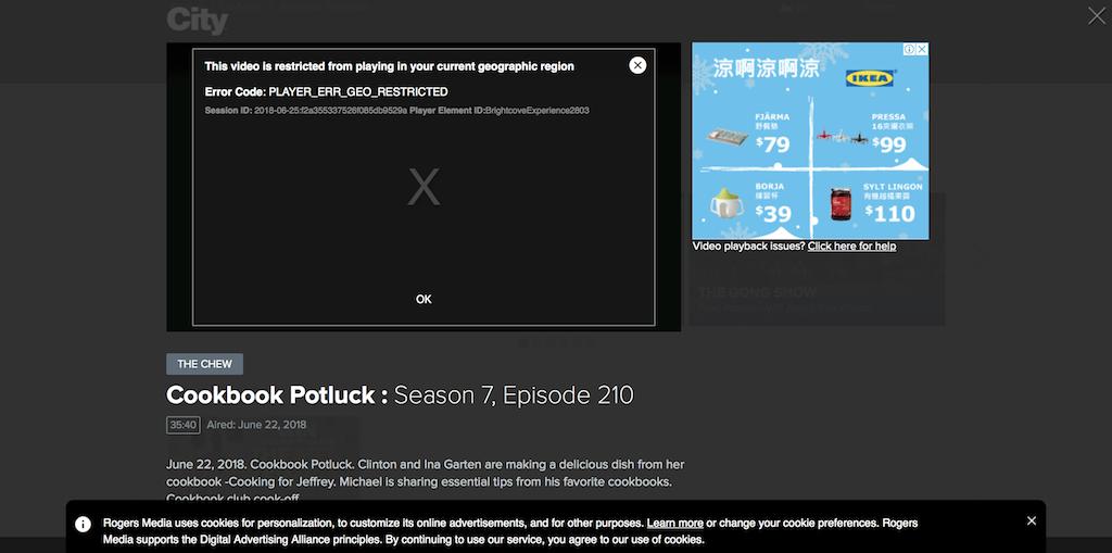 City TV geo-restriction error message