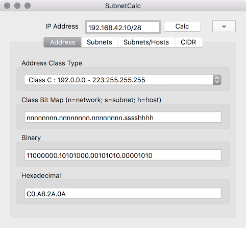 SubnetCalc Screenshot