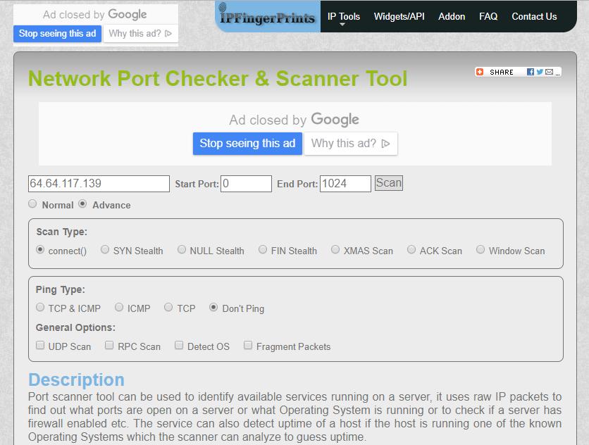 IPFingerPrints Open Port Checker and Scanner