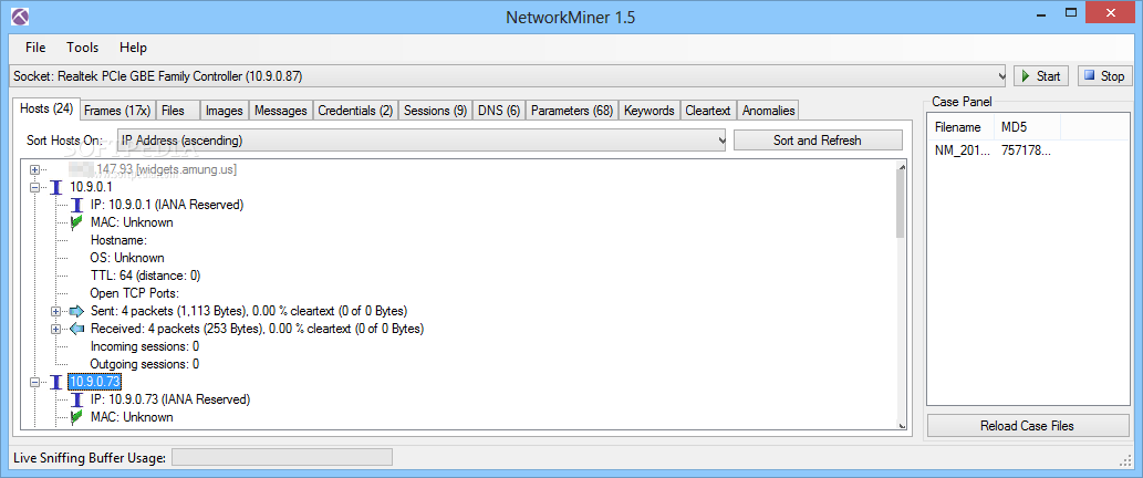 NetworkMiner Screenshot
