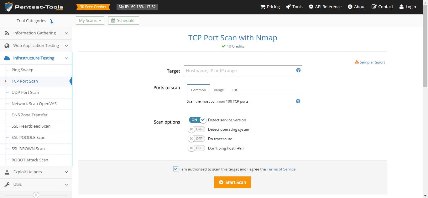 Pentest-Tools.com TCP Port Scan