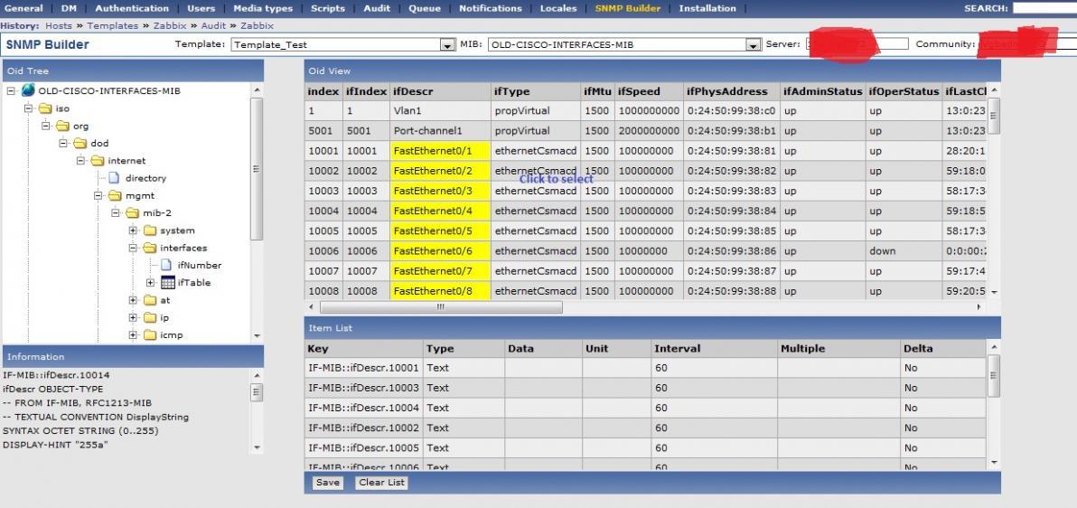 Zabbix - SNMP Builder Screenshot