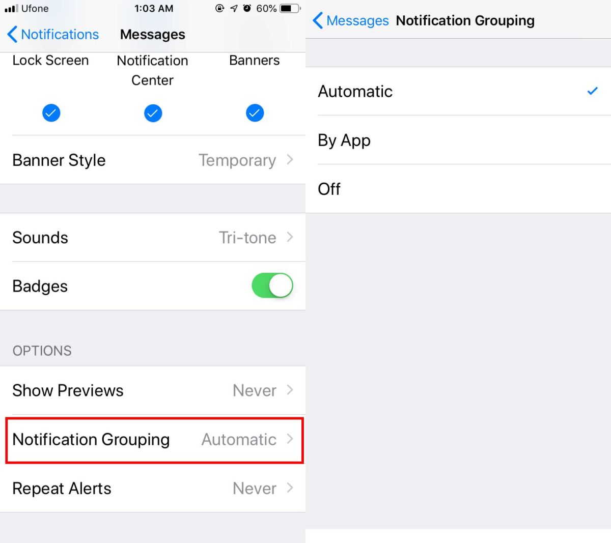 notification grouping