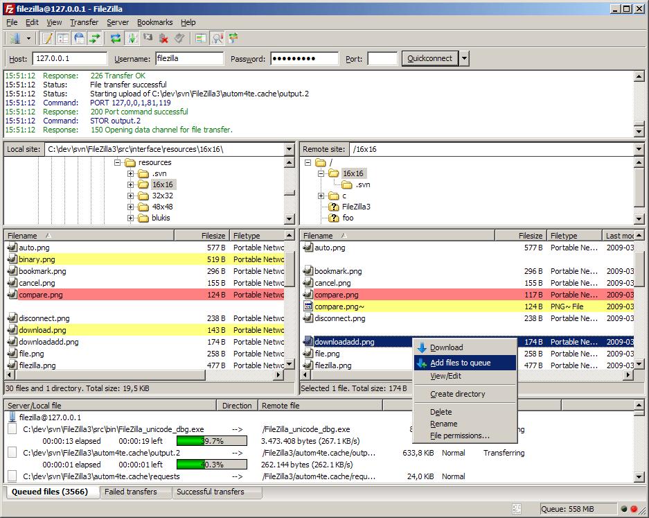FileZilla Main Window