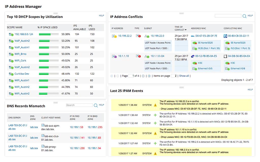 SolarWinds IP Address Manager Screenshot