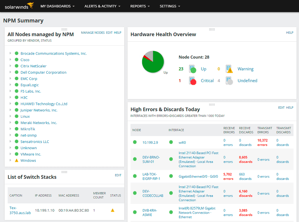 SolarWinds NPM Network Summary