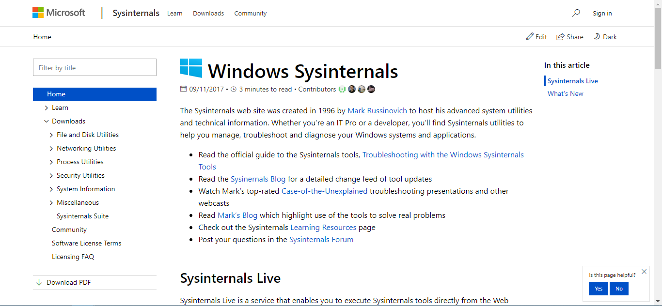 TechNet Sysinternals Home Page