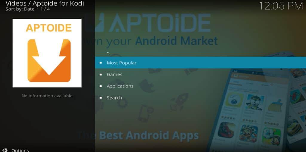 Aptoide kodi main menu