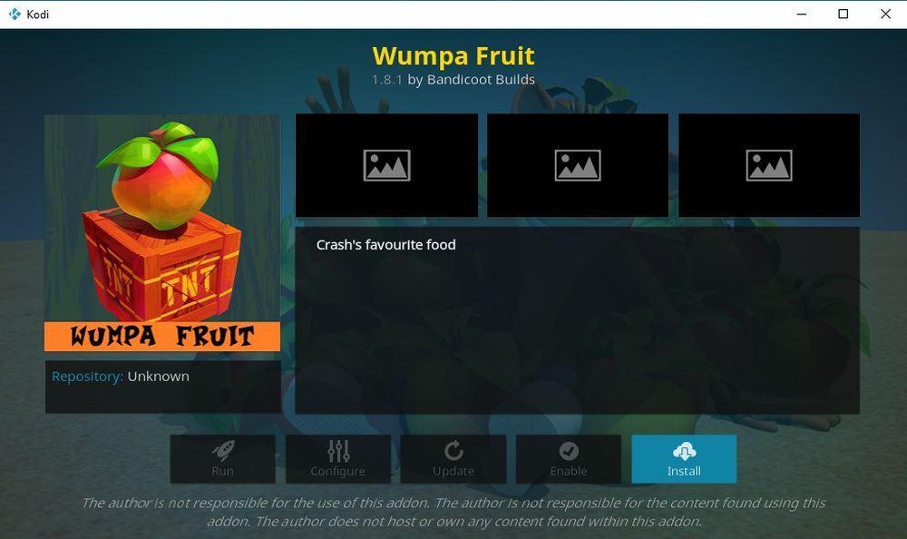 Install Wumpa Fruit Kodi Add-on 1