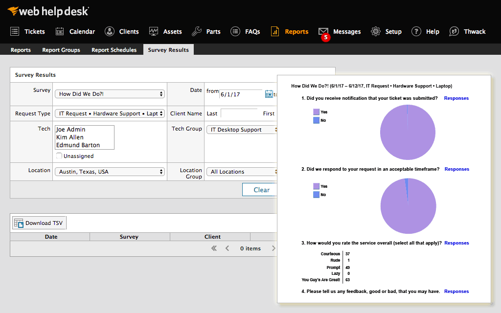 SolarWinds Web Help Desk Customer Surveys