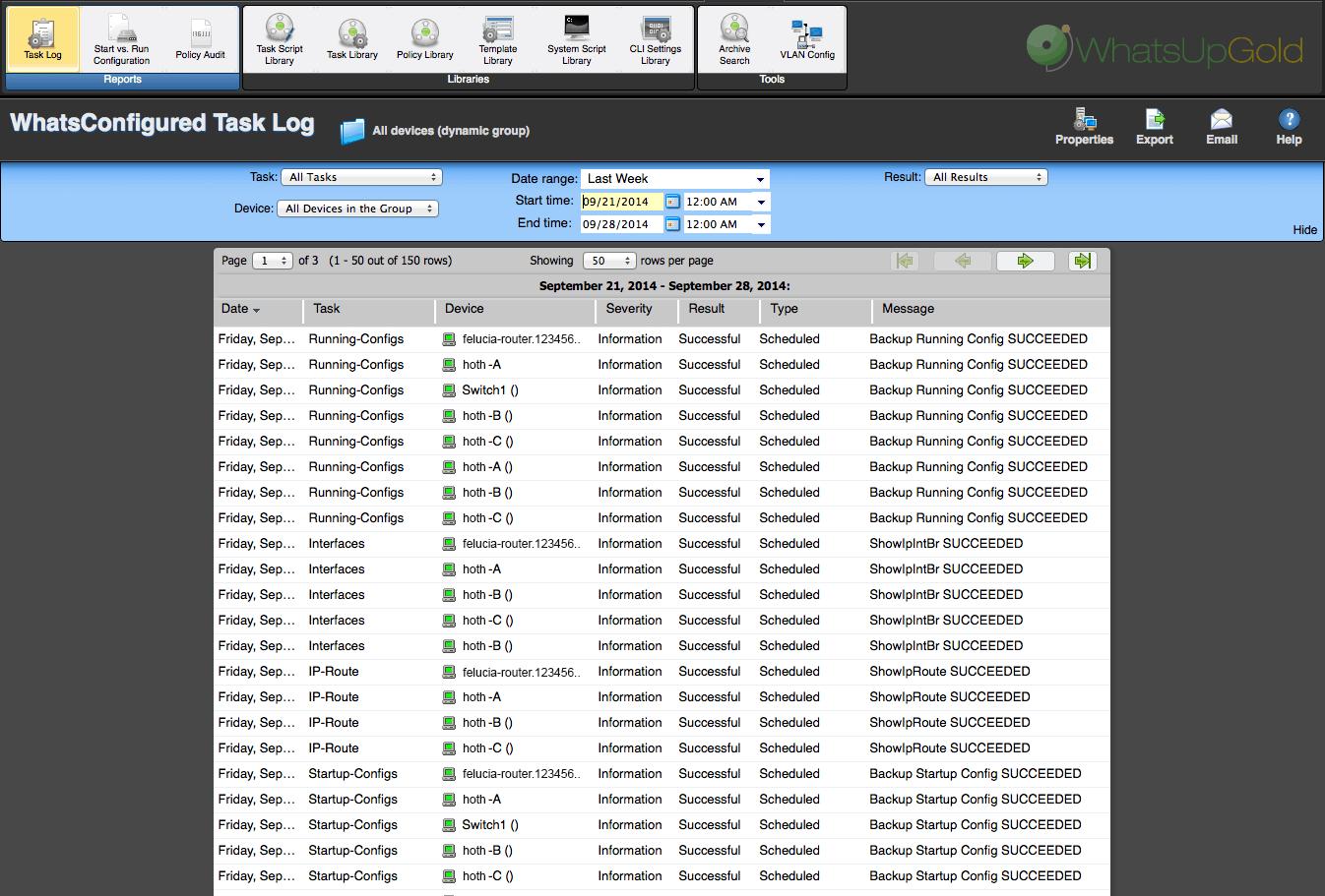 WhatsUp Gold Configuraiton Manager Task Log